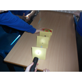 Doing an investigation to find out that light travels in a straight line.