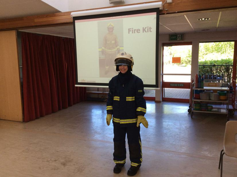Miss Street tried on the Fire Fighters Uniform