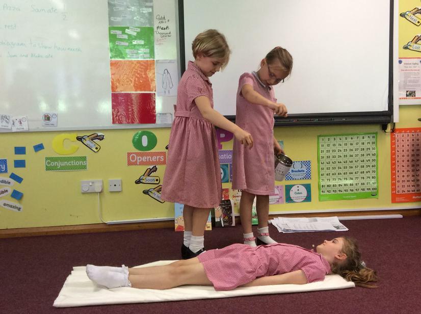 Applying Natron salt to dry the body.