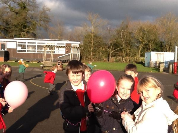 We have written a brief message on the balloons.