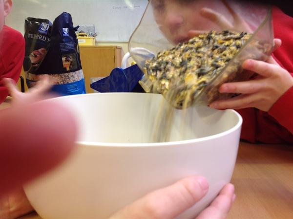 We added twice as much bird seed to melted lard.
