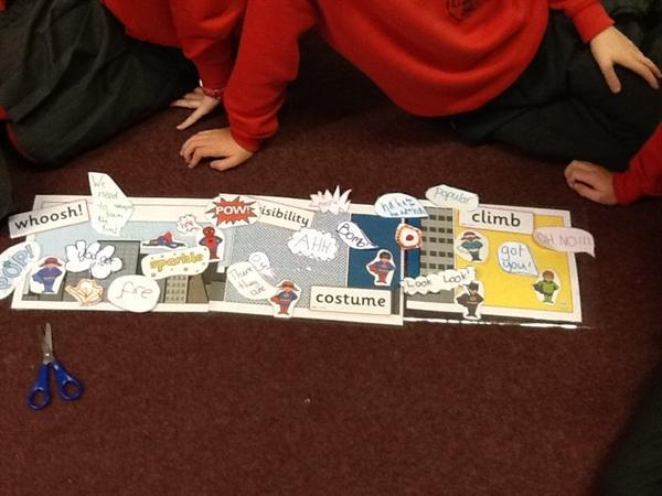 Having fun creating our super hero story board