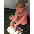 Reading in the pop up tent