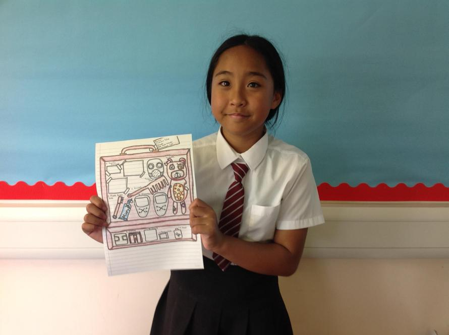 Madison and her evacuee suitcase contents