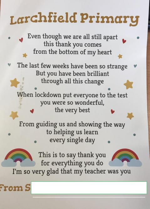 Samantha's thank you poem