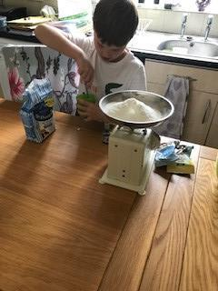 Liam  baking, I wonder what they will look like?