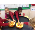 Pumpkin seed art and squishing!