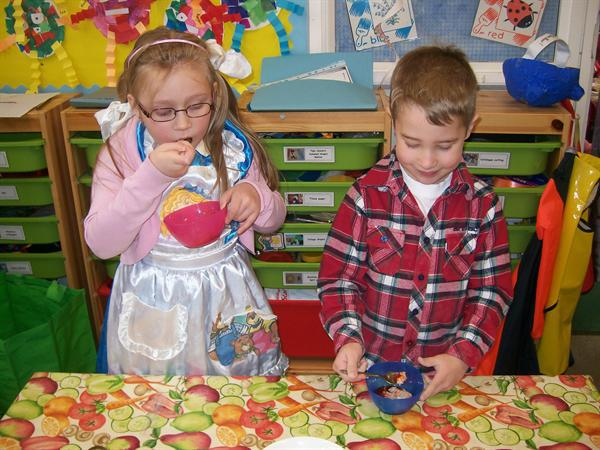 Here we are tasting porridge just like Goldilocks
