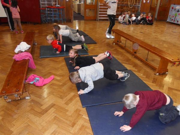 We even managed to do our press ups.
