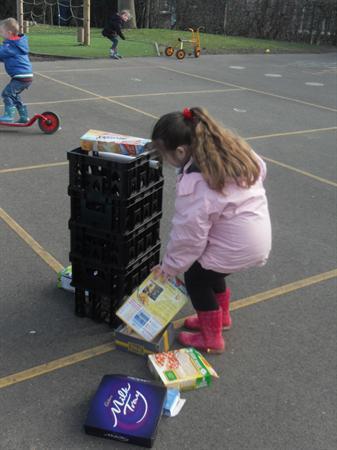we made a rocket using big boxes