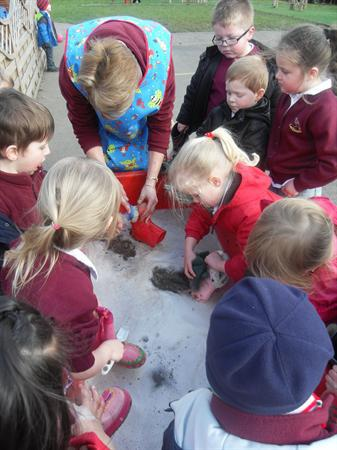 our wellies got so muddy we needed to wash them!