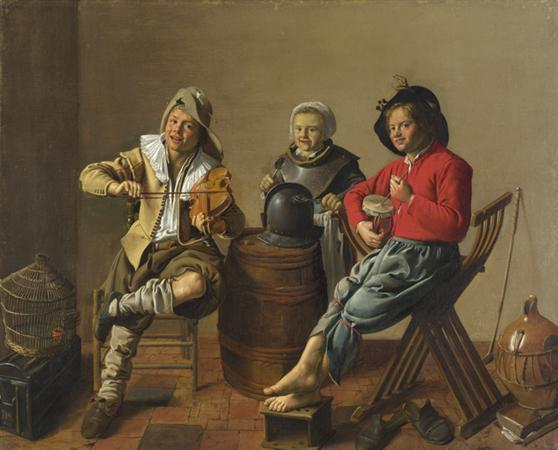 Two Boys And A Girl Making Music