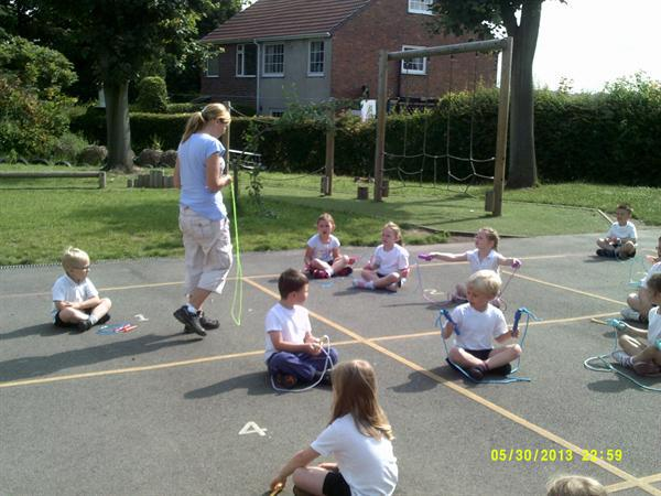 Working hard during our skipping workshop!