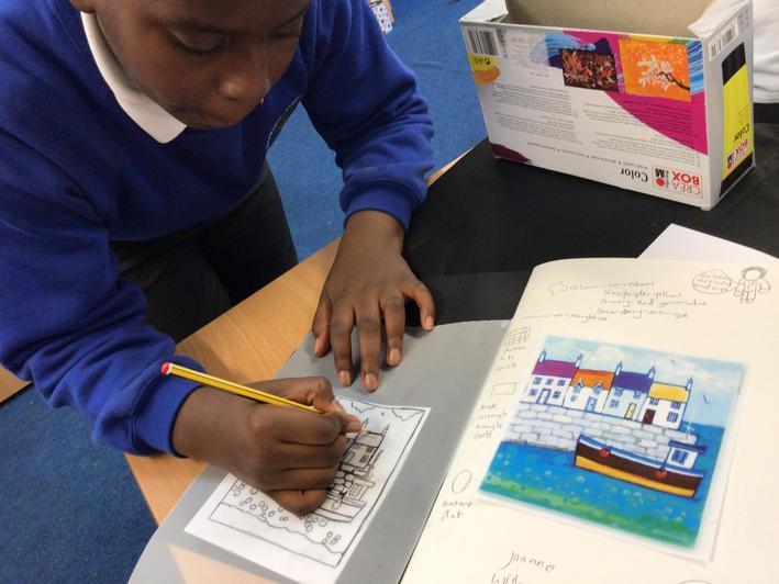 Talented pupils sketch with careful observation