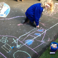 We drew the church with chalks.