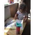 Working hard on her comprehension skills.