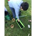 Having fun planting.