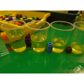 How many cubes tall is the water in these cups?