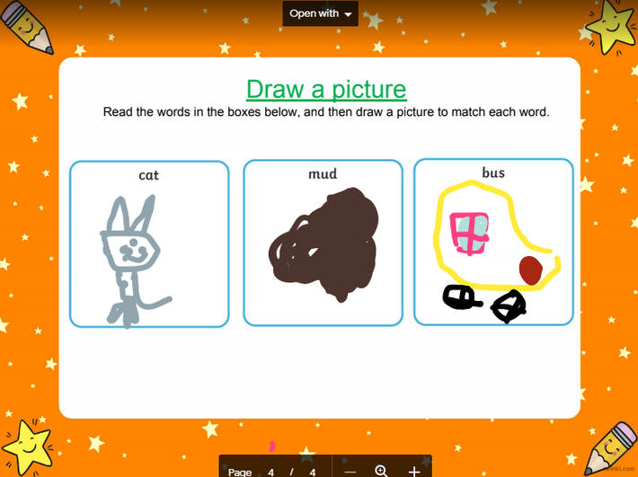 Super reading, and drawing a picture to match!