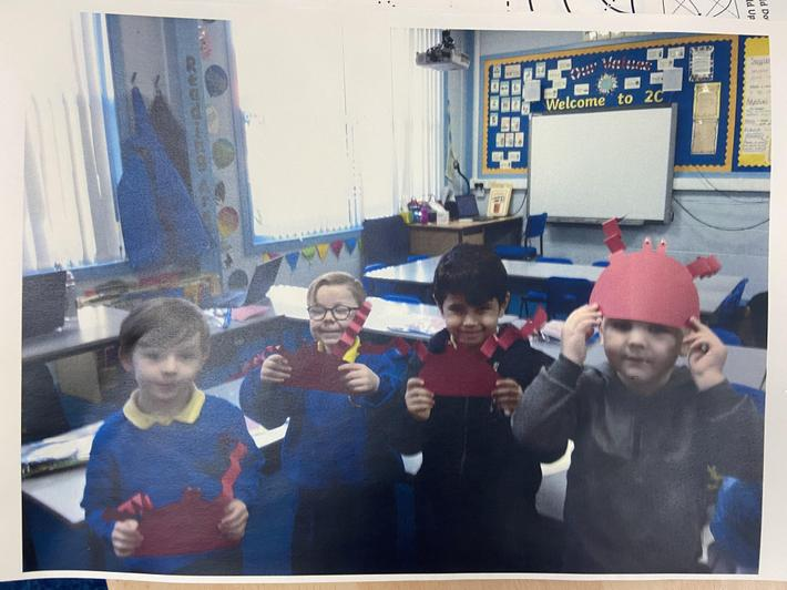 Making crabs for our 'Under the Sea' topic.