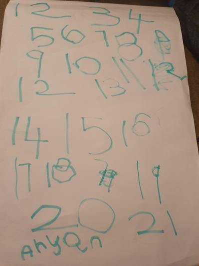 Practising number writing to 20.