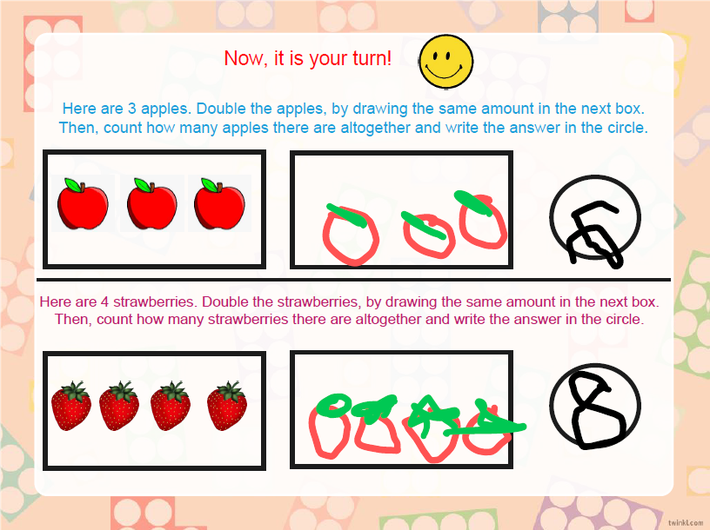 Doubling using fruits.