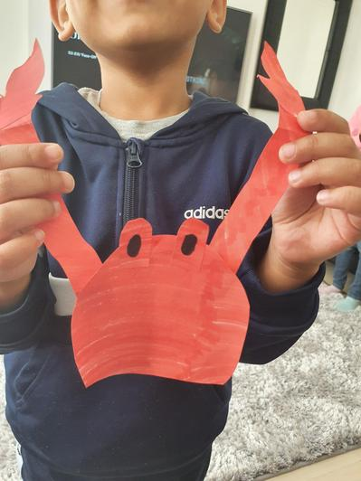Making a crab for our 'Under the Sea' topic.
