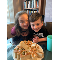 Olivia and her younger brother's focaccia! Yummy!