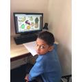 Shariq doing his maths.