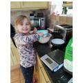 Emily making Anglo Saxon shortbread.