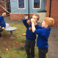Focussed Activity - hanging apples for the birds.