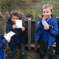 Forest School - humting for pictures of birds.