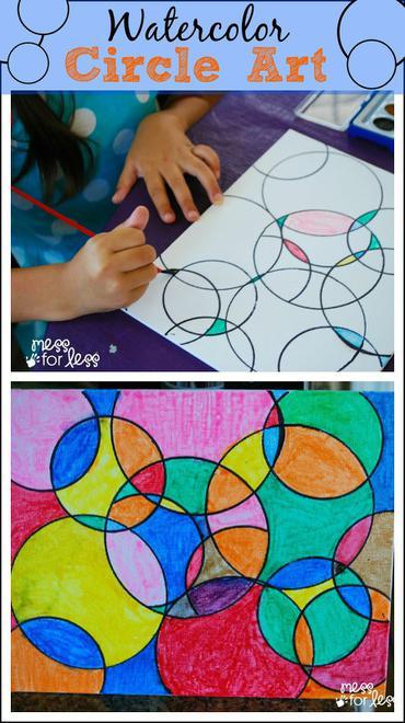 http://www.messforless.net/kids-art-projects-watercolor-circle-art/