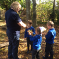 Forest School - looking for leaves.