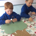 Indoor Forest School - making trees.