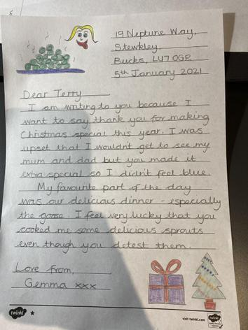 Mrs O'Reilly's thank you letter