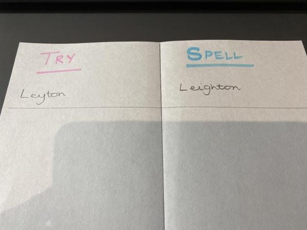 How to use a 'try-spell' page