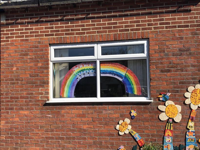 #Chasetherainbow (Infant school staffroom window)