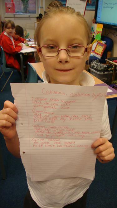 Ellie's Caveman poetry.