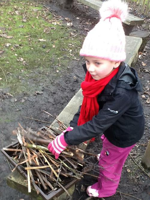 Explorers - collecting sticks for a fire.