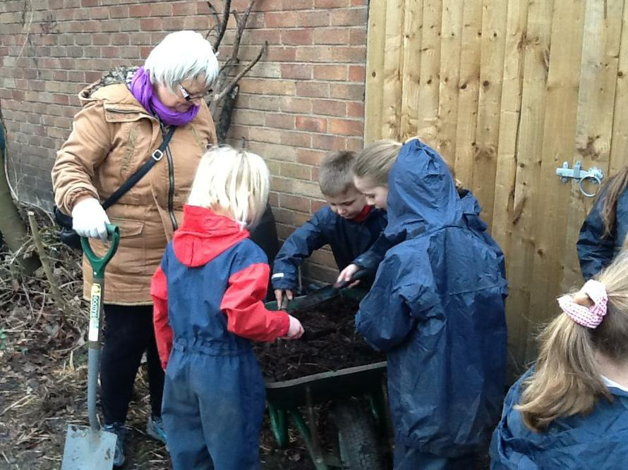 Clear the site for the compost pit.