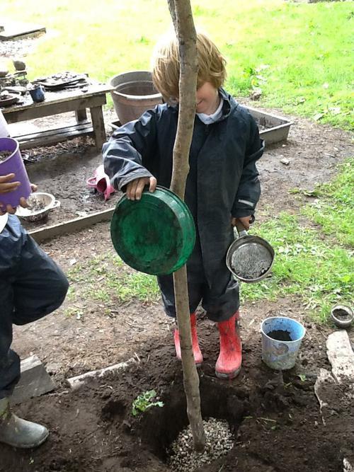 We first dug deep holes.