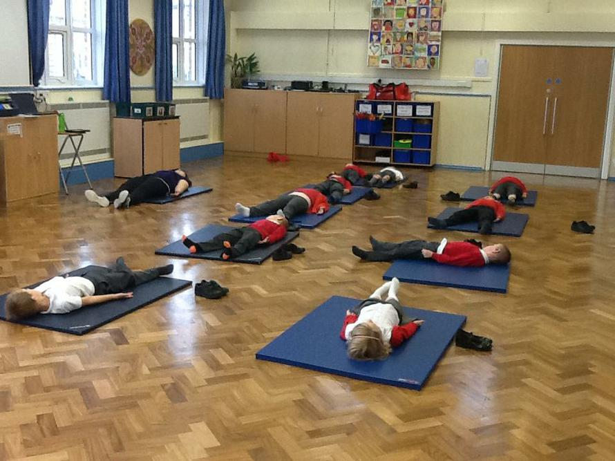 We had a great time doing yoga with Mrs Johnson