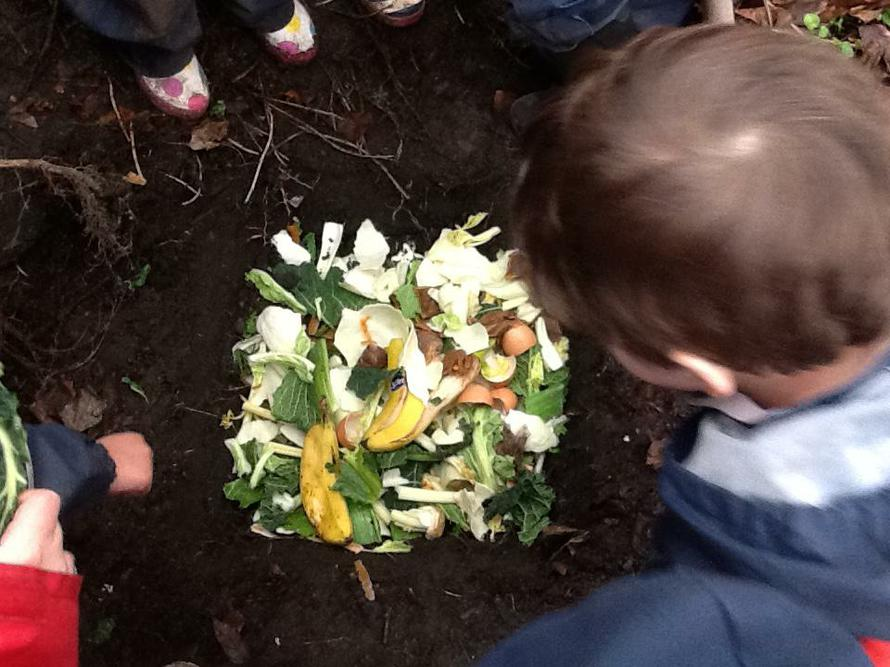 We filled it with vegetable scraps.
