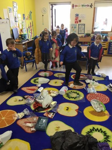Finding the plastic pollution in the classroom.
