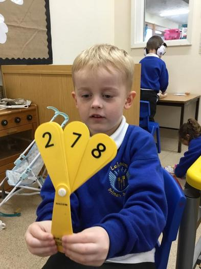 Finding numbers in the classroom.