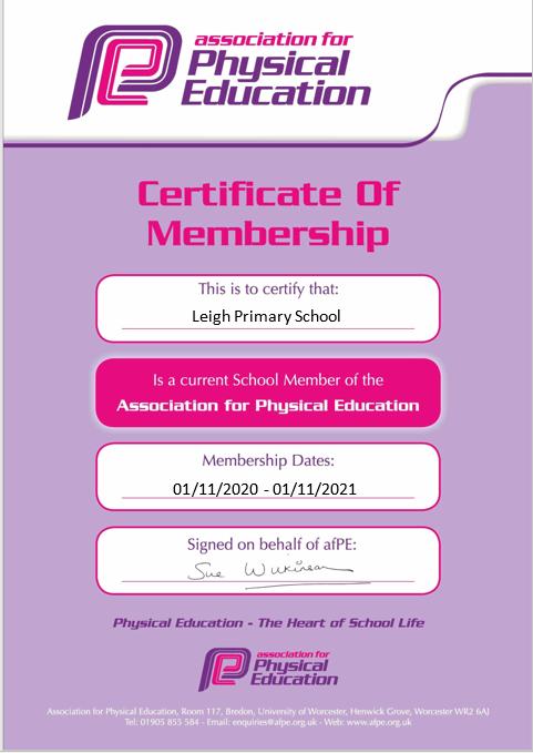 afPE certificate
