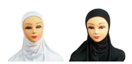 Plain black or white pull-on hijab (no pins)