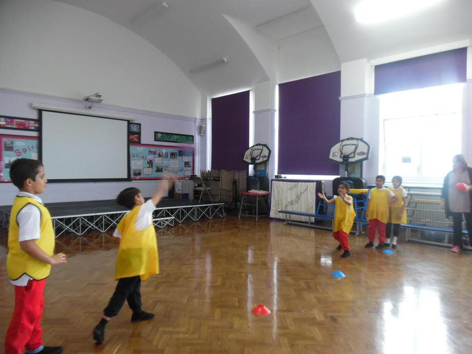 Passing using over arm.