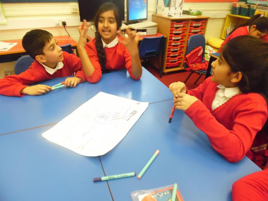 Discussing our ideas in the group.